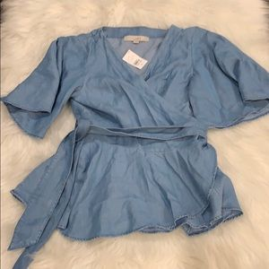 NWT THE LOFT Denim Wrap Tie V Neck Blouse